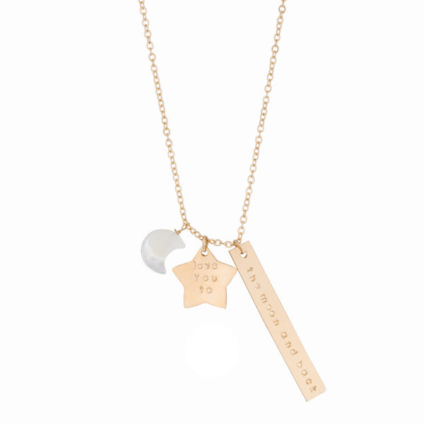 taudrey celestial themed moon shaped pearl necklace star and bar charms stamped to read love you to the moon and back