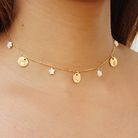 taudrey moonwalk celestial personalized choker necklace moon star themed