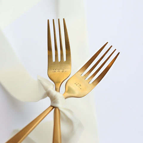 taudrey mr and mrs forks personalized champagne gold brushed forks personalized wedding gift