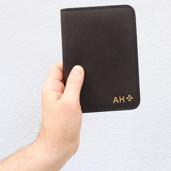 taudrey mens saffiano cross hatch leather embossed personalized passport holder navy or black