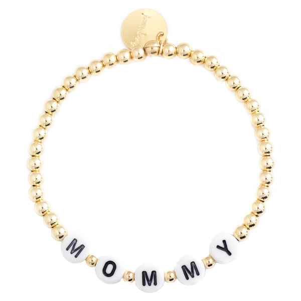 taudrey beaded letter block bracelet mommy gold rose gold silver mom bracelet