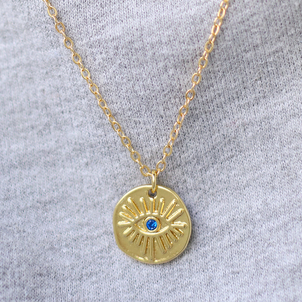 taudrey no bad vibes evil eye charm necklace