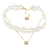 taudrey off to the laces choker necklace layered lace and gold