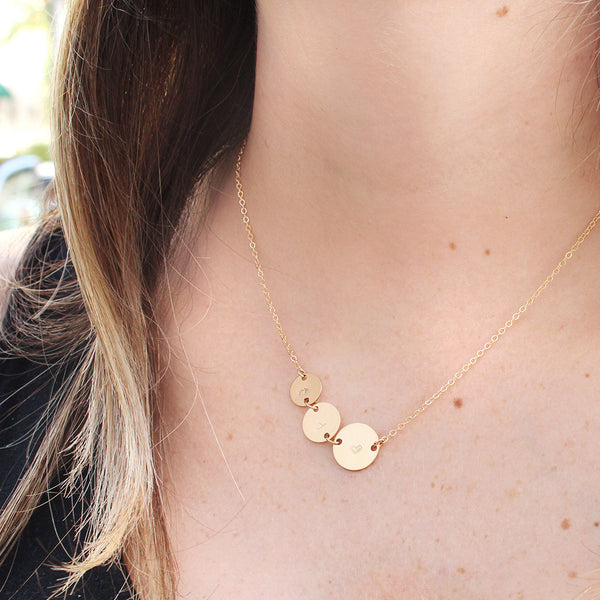 taudrey gold personalized charm necklace hand stamped initials