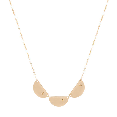 taudrey other half dainty gold personalized necklace with three gold semi circle charms that can be personalized