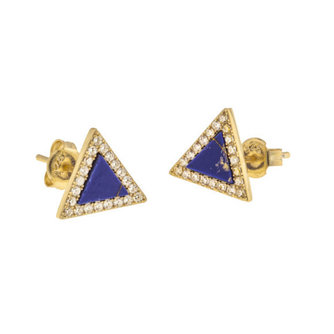 taudrey out of the blue studs triangle shaped lapis outlined with pave crystals