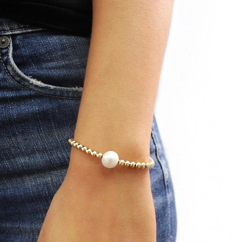 taudrey party pearl bracelet gold beads large pearl accent