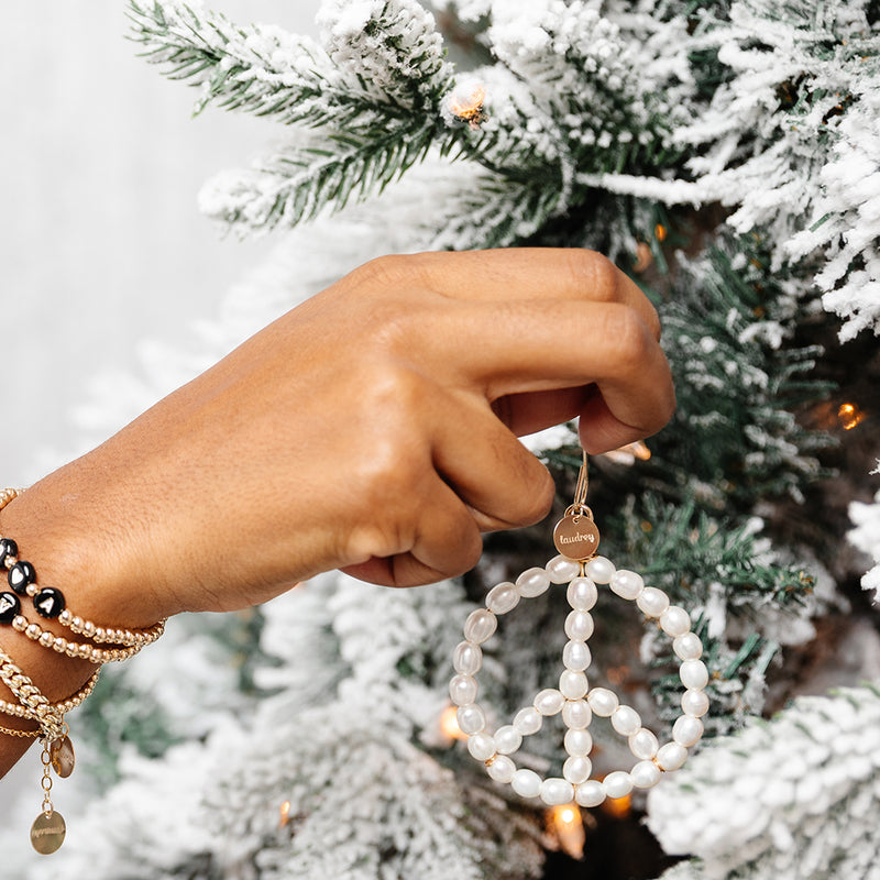 taudrey branch out pearl peace sign tree ornament