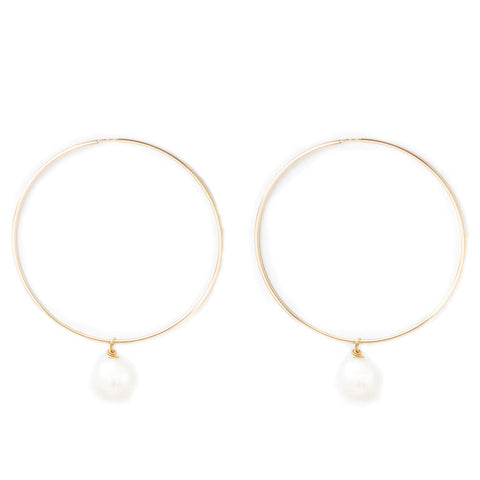 taudrey pearls best friend gold hoop dangling pearl accent