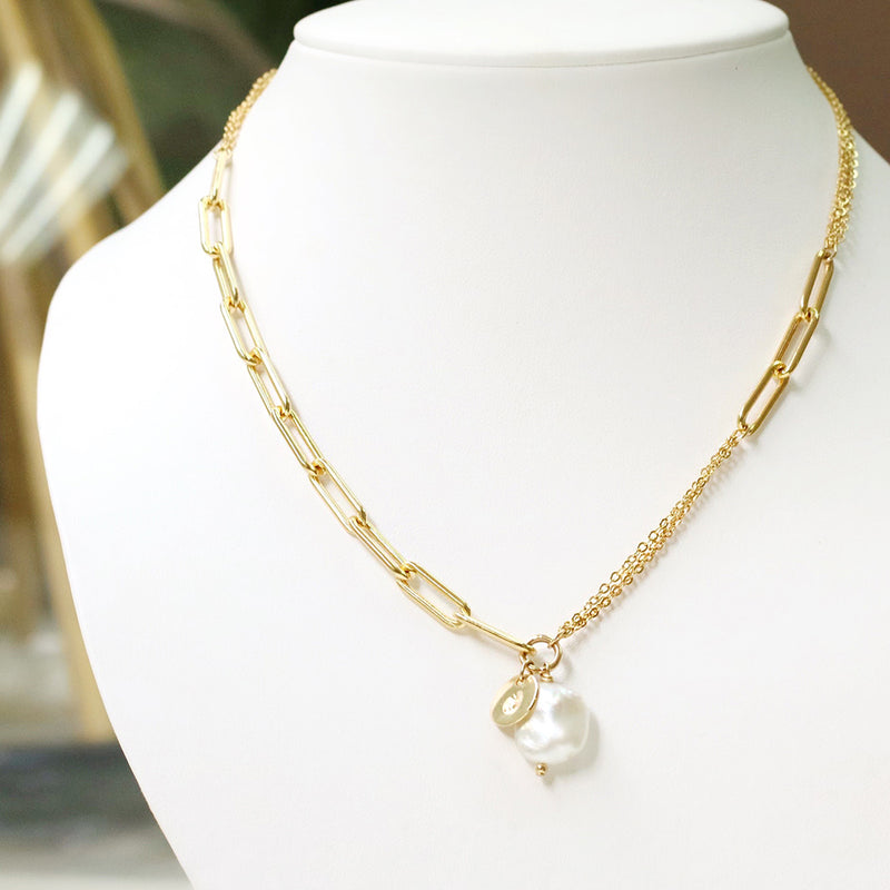 taudrey perfect mix wide link chains pearl personalized charm detail styled on