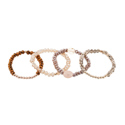 taudrey cinnamon beaded bracelet set neutral blush bronze beaded set with personalized rose gold charm