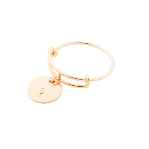 taudrey coin toss gold wire ring with personalized charm