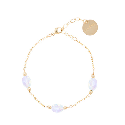 taudrey full moon dainty gold bracelet opal accents