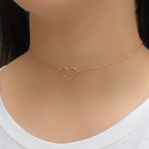 taudrey rose gold heart wire choker heart strings