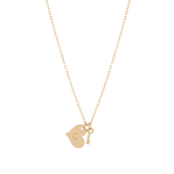 taudrey key to my heart gold necklace personalized heart charm key accent