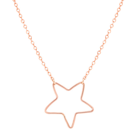 taudrey little luster necklace kids rose gold wire star