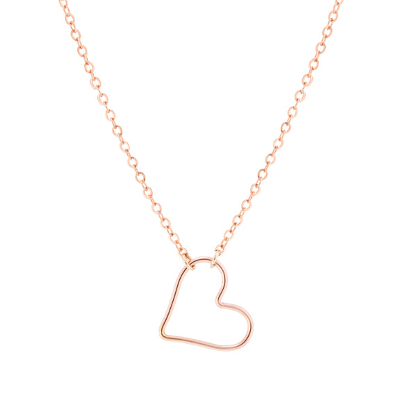 taudrey little love necklace kids rose gold wire heart