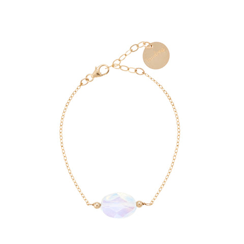 taudrey luna bracelet opal on gold chain