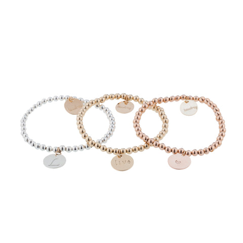 taudrey personalized jewelry three little pretties bracelet set beaded rose gold silver