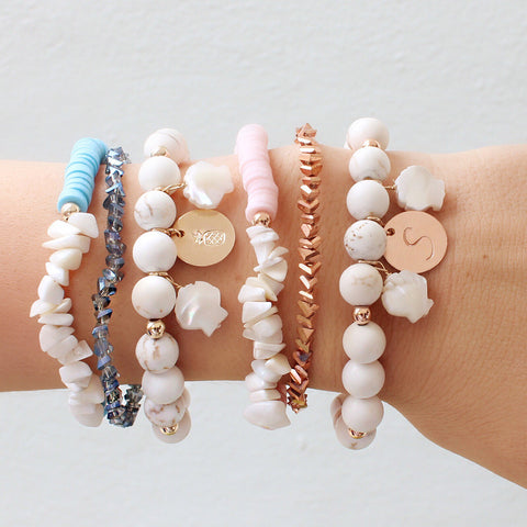 taudrey are you shore arm party shell themed personalized bracelet stack rose pink blue sapphire theme