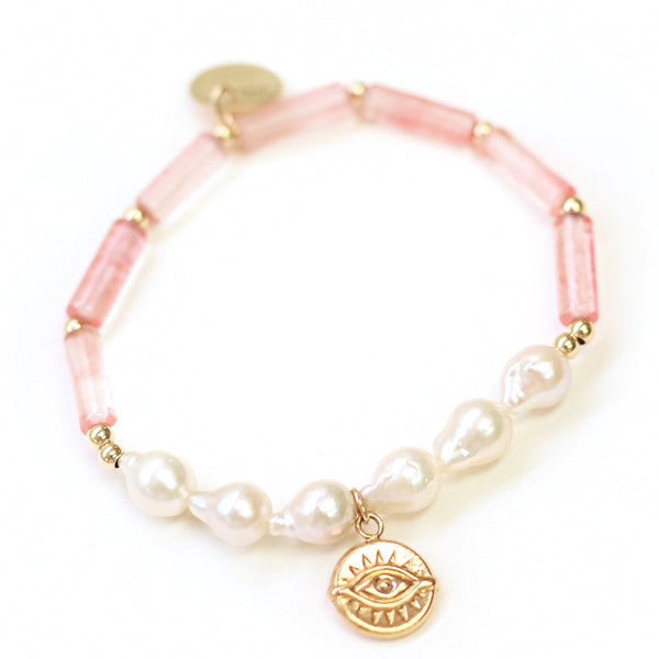taudrey pink about it bracelet pink beads pearls evil eye charm personalized hammered charm