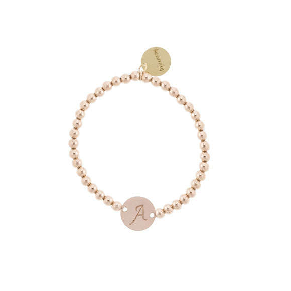 taudrey pink lady rose gold beaded bracelet personalized charm