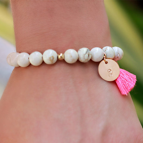 taudrey breast cancer awareness pink mini coin tassel bracelet