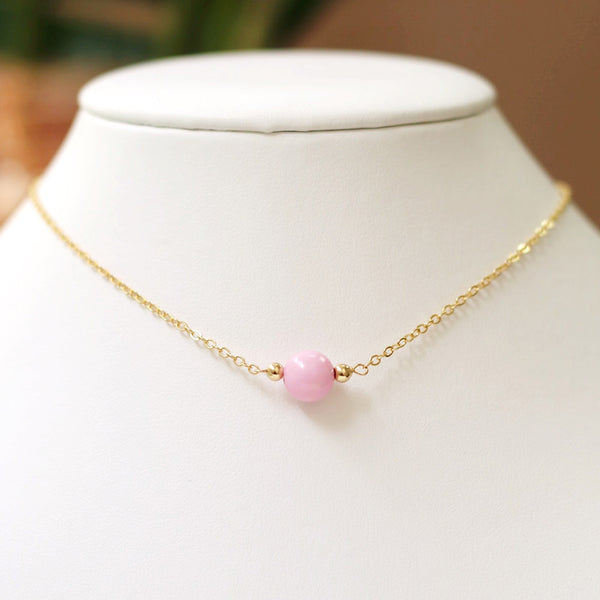 taudrey kids necklace pink petal pink bead accent