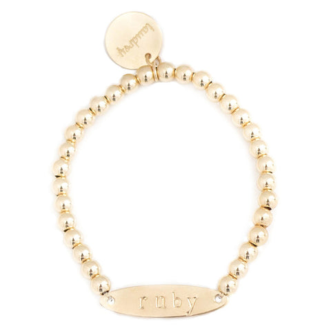 taudrey kids girls gold beaded bracelet personalized bar plate accent
