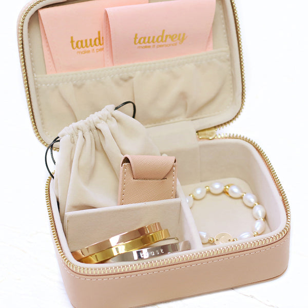 taudrey pretties inside jewelry case travel organizer blush saffiano leather personalized