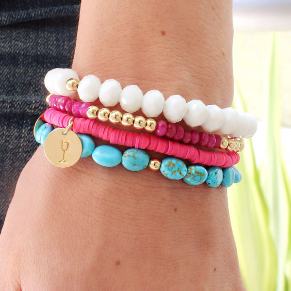 taudrey pretties of the sea turquoise pink fuchsia beaded personalized bracelet