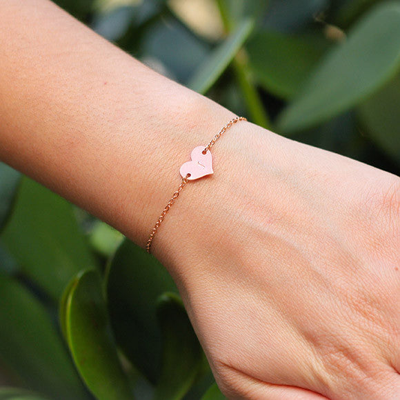 taudrey pretty in pink bracelet rose gold personalized heart
