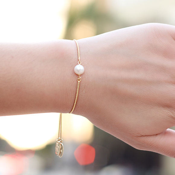 taudrey pretty little pearl bracelet gold slide bracelet pearl detail personalized charm