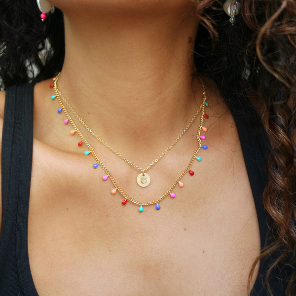 taudrey rainbow drops layered personalized colorful necklace
