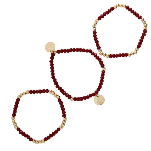 taudrey red red wine red crystal beaded bracelet set gold bead accented personalized gold charm