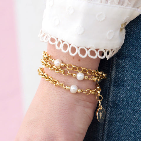 taudrey blogger collection wrapped in pearls bracelet by blogger kristin leahy pearl accented chain wrap bracelet with personalized gold charm