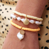 taudrey rise and shine bracelet set yellow personalized charm shell pearl details styled