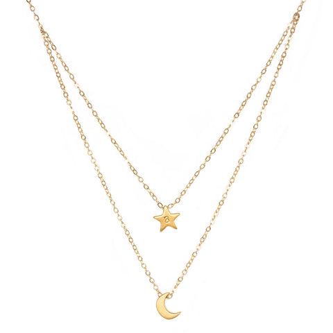 taudrey layered gold necklace rising star personalized charm star moon theme