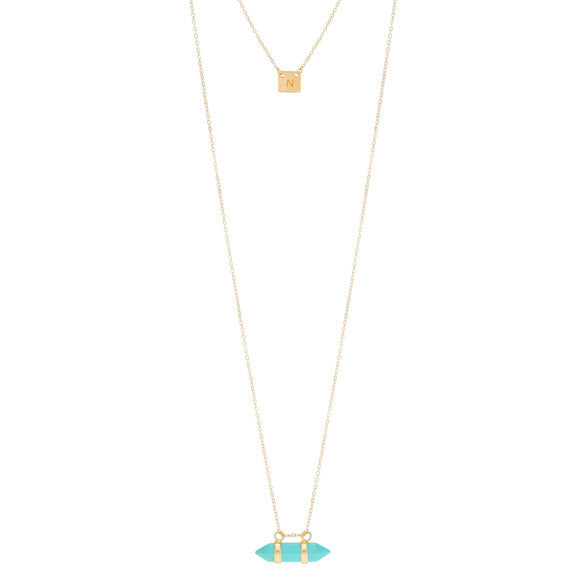 taudrey rock with me necklace gold layered with turquoise accent