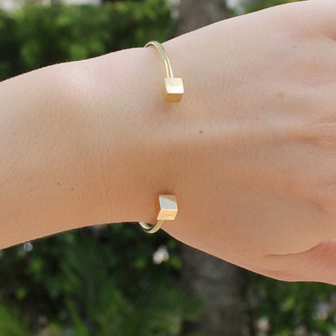 taudrey roll the dice gold personalized cuff cube personalized details on dainty gold cuff