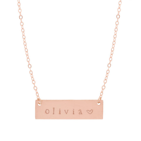taudrey rose gold autograph hand stamped name plate necklace