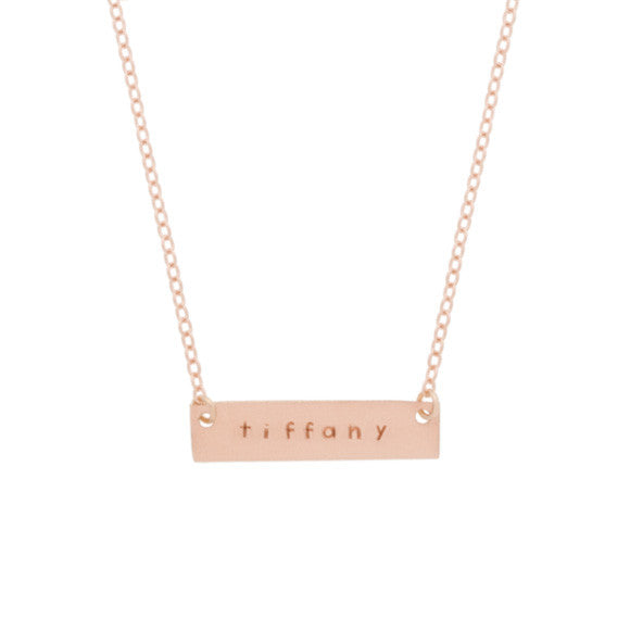 taudrey rose gold skinny autograph plate hand stamped necklace