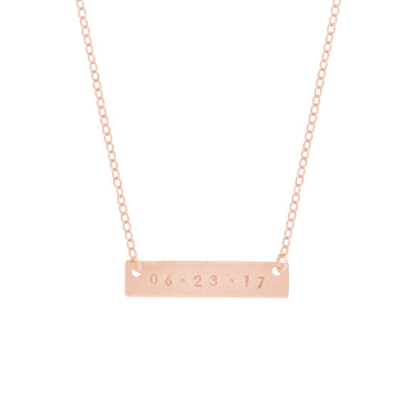 taudrey rose gold skinny date plate hand stamped necklace
