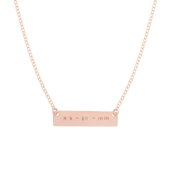 taudrey rose gold skinny date plate hand stamped with roman numerals necklace