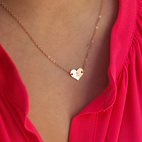 taudrey breast cancer awareness rose heart pink ribbon necklace rose gold