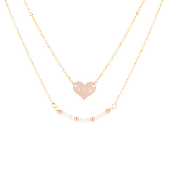Rose Gold Mini Coin Pearl Necklace