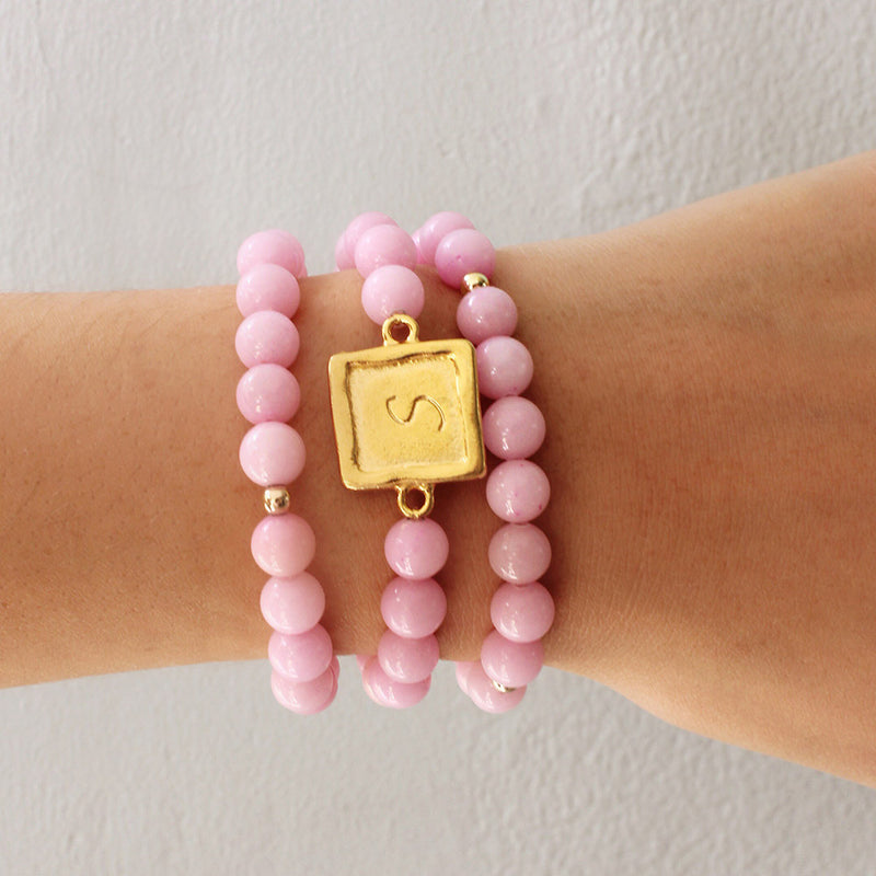 taudrey sabby set bubblegum pink personalized beaded bracelet set