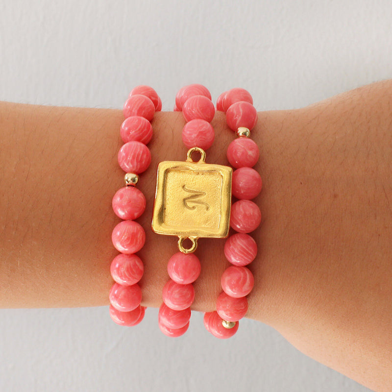 taudrey sabby set coral personalized beaded bracelet set