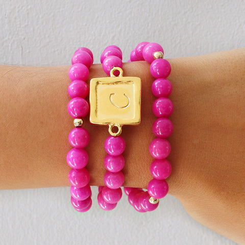 taudrey sabby set fuchsia personalized beaded bracelet set