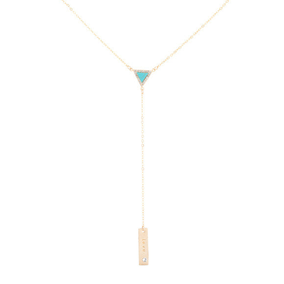 taudrey sail south necklace with turquoise triangle and personalized gold plate